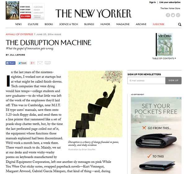 The New Yorker stirs the pot on disruption