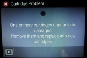 This is the error message some HP inkjet printer owners have seen recently when aftermarket cartridges are installed.